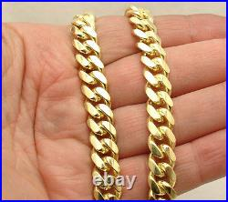 10mm Solid Tight Miami Cuban Chain Necklace Box Lock 14K Yellow Gold Clad Silver