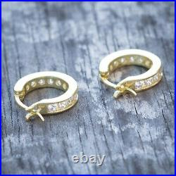 14K Gold Solitaire Iced Small Cz Sterling Silver Mens Huggie Hoop Earrings