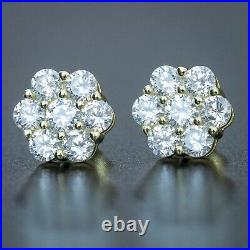 14K Gold Sterling Silver Iced Round Flower Cluster Cz Stud Hip Hop Earrings