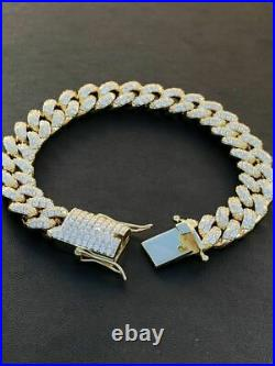 14k Gold Over Solid 925 Silver Mens Miami Cuban Link Bracelet ICY Diamonds 12mm