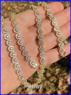 14k Gold Over Solid 925 Silver Tennis Chain Real Iced Flooded Out Diamond Choker