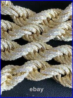 14k Gold Over Solid 925 Sterling Silver Men's Rope Chain 18 Choker 40ct Diamond