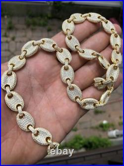 14k Gold Over Solid 925 Sterling Silver Mens Gucci Link Choker Chain 18 Diamond