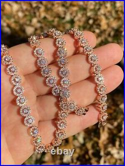 14k Rose Gold Solid 925 Silver Tennis Chain Real Iced Flooded Out Diamond Choker