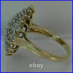 14k Yellow Gold Over 2Ct Round Cut VVS1 Diamond Engagement Wedding Cluster Ring