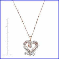 1/2 ct Diamond Heart Pendant in 14K Rose Gold-Plated Sterling Silver, 18