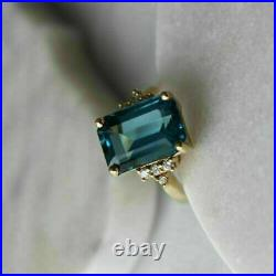 1 CT Emerald Cut London Blue Topaz Diamond 14k Yellow Gold Over Solitaire Ring