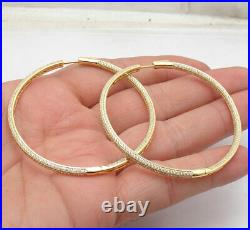 2 3/8 Inside Out Pave Diamonique CZ Hoop Earrings 14K Yellow Gold Clad Silver