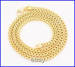 30 5mm Italian Square Franco Chain Necklace 14K Yellow Gold Clad Silver 925