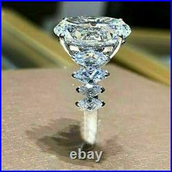 5Ct Oval Cut Diamond Solitaire Engagement Ring 14k White Gold Over Round Accents
