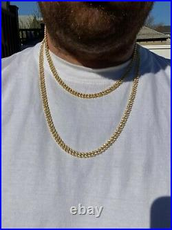 6mm Miami Cuban Iced 14k Gold Solid 925 Silver Chain Necklace 16-30 Men Ladies