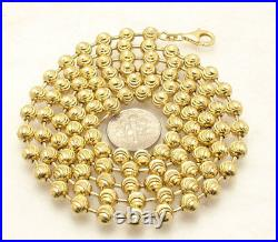 6mm Moon Cut Ball Bead Chain Necklace Solid 14K Yellow Gold Clad 925 Silver