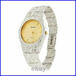 925 Sterling Silver Nugget Band Wrist Watch Geneve Watch 7 42 grams