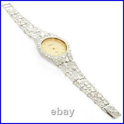 925 Sterling Silver Nugget Wrist Watch with Geneve Watch 8 Graduated Band 48g