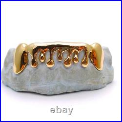 925 Sterling Silver With 18K Yellow Gold Plated Drip Dripping Style Grill Grillz