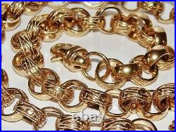 9CT GOLD ON SILVER CHUNKY 30 INCH MEN'S SOLID BELCHER CHAIN HEAVY 125.2 grams