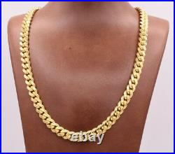 9mm Miami Cuban Chain Necklace Solid 14K Yellow Gold Clad Silver Box Lock Italy
