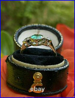 Antique Perfect Vintage Art Deco Wedding Ring 14K White Gold Over 2Ct Emerald