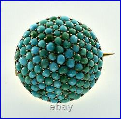Antique Victorian 10k Gold Turquoise Pave Brooch Pin C. 1860