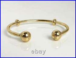 Authentic PANDORA Open Bangle with Logo End Caps 14K Gold Vermeil Plated 596477