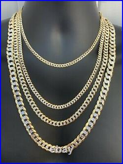 Cuban Link Chain 14k Gold & Solid 925 Silver Two Tone Diamond Cut ITALY 5-11mm