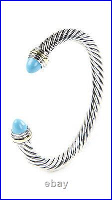 DAVID YURMAN Cable Classic Bracelet withCabochon Turquoise & 14K Gold 7mm $825 NEW