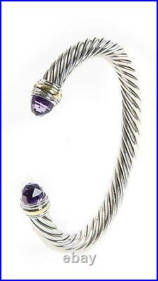 DAVID YURMAN Womens Cable Classic Bracelet with Amethyst & 14K Gold 7mm $825 NEW