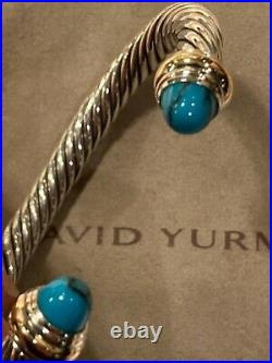 David Yurman 7mm 925 Silver Cable Bracelet With TURQUOISE & Gold