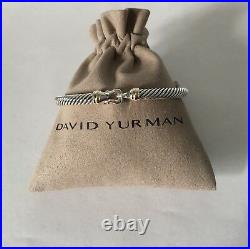 David Yurman Cable Buckle Bracelet With 18k Gold 5mm 925 Sterling Silver (L)