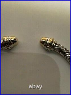 David Yurman Cable Classic Bracelet with Gold Dome and 14K Gold 5mm Medium