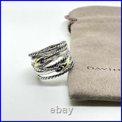 David Yurman Double X Crossover Ring 925 Sterling Silver with 18k Gold Size 7