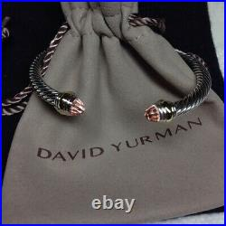 David Yurman Sterling Silver 5mm Cable Classic Bracelet Morganite and 14K Gold