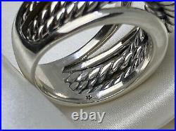 David Yurman Sterling Silver 925 14k Gold Narrow Crossover 14mm Width Cable Ring
