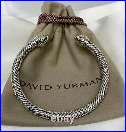 David Yurman Sterling Silver 925 5mm Cable Bangle Bracelet with 14k Gold Dome