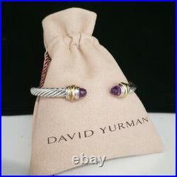 David Yurman Sterling Silver Amethyst and gold 5mm cable Bracelet