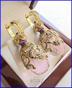 GORGEOUS MADE OF STERLING SILVER 925 & 24K GOLD EARRINGS PINK TOPAZ and ENAMEL