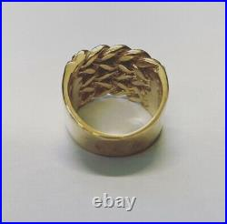 Heavy 9ct Gold Plated/925 Sterling Silver 4 Row Keeper Ring. All Sizes