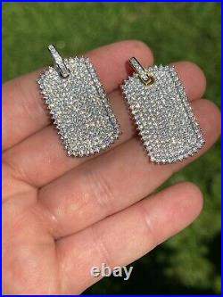 Iced 3.4ct Moissanite Dog Tag Pendant Necklace Gold / Silver Pass Diamond Tester