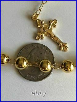 Men Large Rosary Beads Necklace 30 14k Gold Over Solid 925 Silver Rosario ITALY