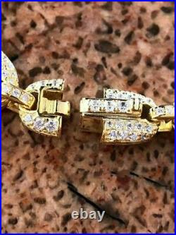 Men's Mariner Gucci Link Chain ICY Diamonds 14k Gold Over Solid 925 Silver 8mm
