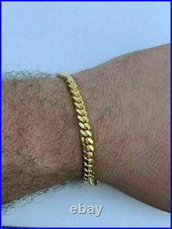 Men's Miami Cuban Link Chain Or Bracelet 14k Gold Over Solid 925 Silver Box Lock
