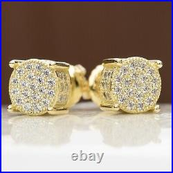 Men's Round Hip Hop Small 14K Yellow Gold Screw Back 3D Cz Stud Earrings