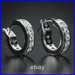 Men's Small White Gold 925 Sterling Silver One Row Iced Huggie Hoop Earrings