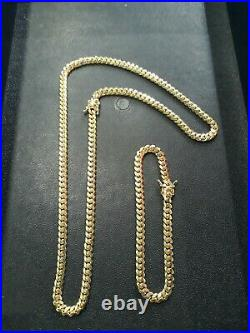 Mens 14k Gold Over 925 Sterling Silver Miami Cuban Chain and Bracelet 6mm Set