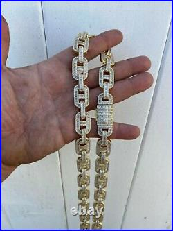 Mens 14k Gold Over Solid 925 Sterling Silver Baguette Gucci Link Chain Iced 15mm