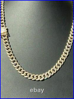 Mens Miami Cuban Link 9mm Chain 14k Gold Over Solid 925 Silver 25ct Diamonds
