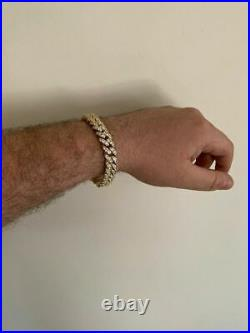 Mens Miami Icy Cuban Bracelet 10k Yellow Gold Over Real 925 Sterling Silver 12mm