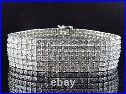Mens Pave White Gold Finish Round Cut Real 6 Row 20 MM Diamond Bracelet 8.5 Inch