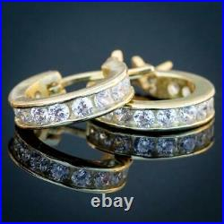 Mens Small 14K Gold Iced Solitaire Real Sterling Silver Hoop Huggie Earrings