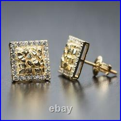 Mens Small Square Iced Cz 14K Gold 3D Nugget Hip Hop Stud Screw Back Earrings